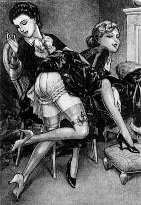 girls spanking vintage art