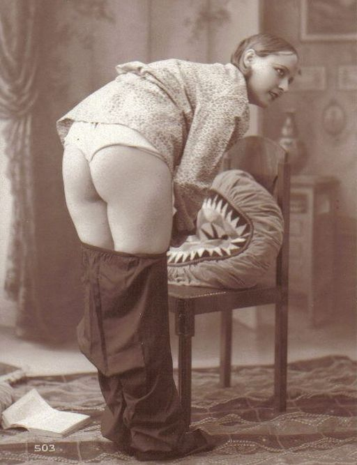 vintage photo of a woman bending over for a spanking