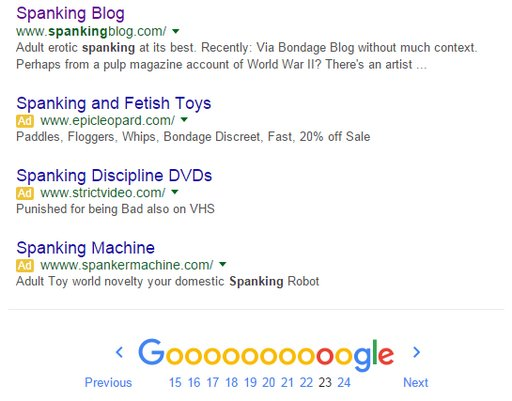 spanking blog on page 23 of Google search results for spanking keyword