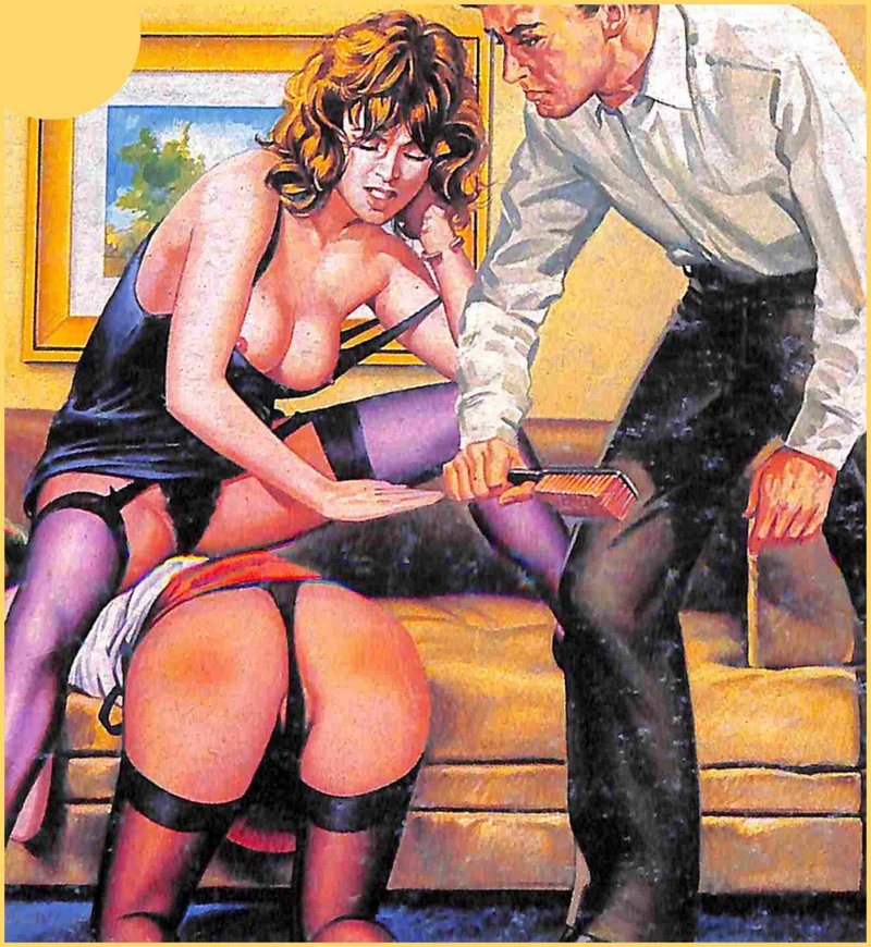 spanking a poor girl with hand and the bristle side of a clothing brush on the cover of an italian fumetti pulp