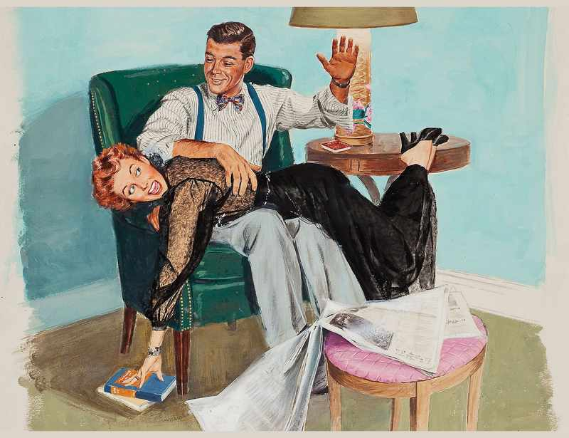 1950s wife spanking art showing cheerful man and happy wife