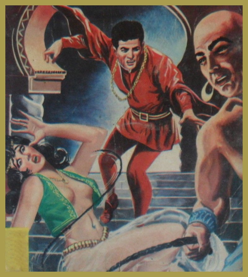 gender-ambiguous harem functionary whips a harem girl as Elvis bursts in to save her