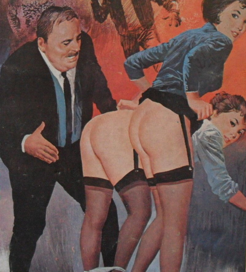 suited man spanking two office ladies with their panties around their ankles