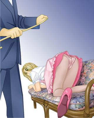 caned anime girl