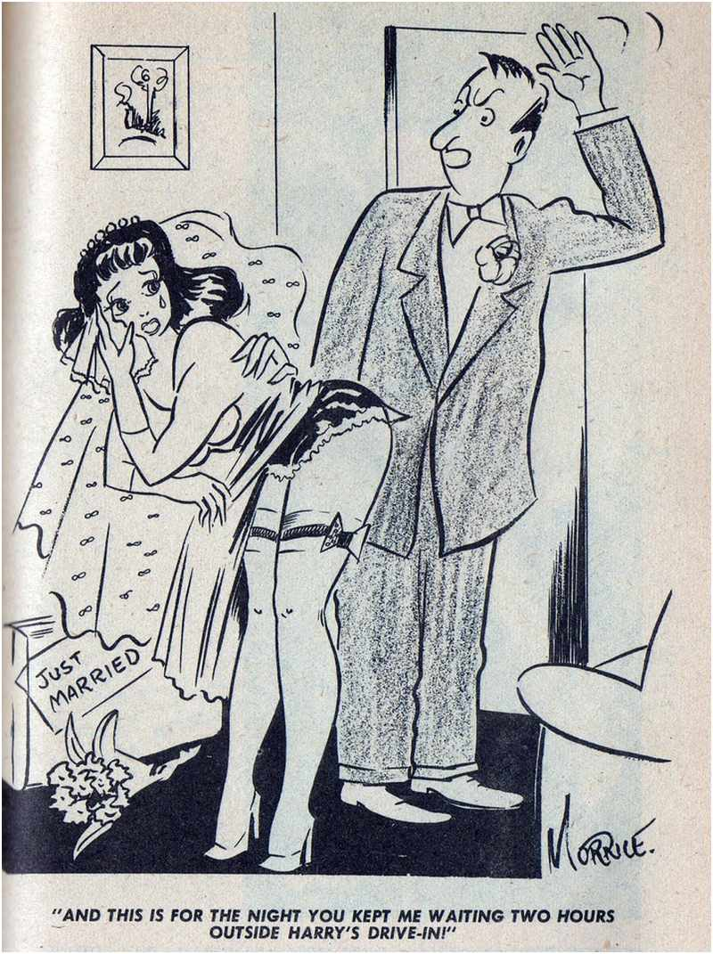 """""""And this is for the night you kept me waiting two hours!"""" honeymoon revenge spanking cartoon"""