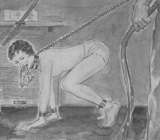 new slave maid refuses to clean the filthy floor with an old rag held in her mouth, must be disciplined repeatedly with a leather flogger