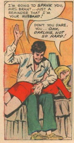 comic book panel in which husband spanks wife