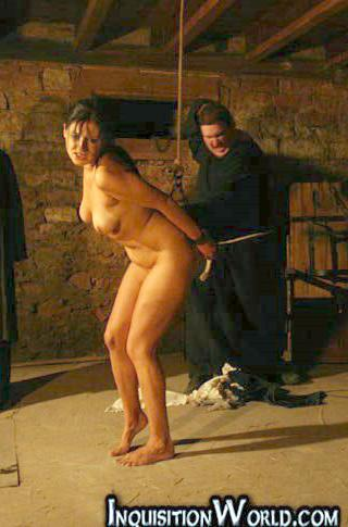 stripped naked for a whipping in the dungeons of the inquisition