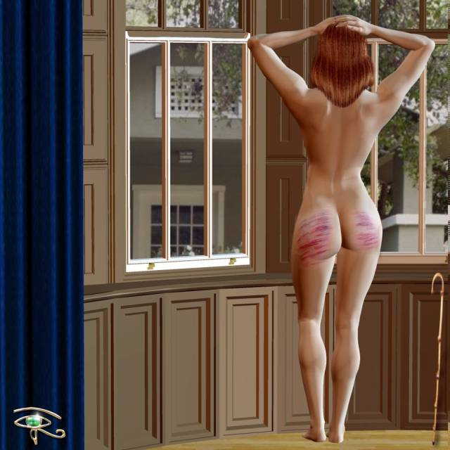 caned wife standing at window