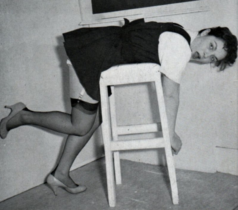 maureen jeggo bent over a caning  bench for academic spanking correction