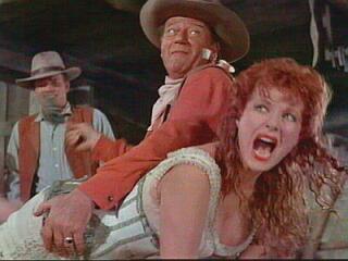 Maureen O'Hara spanked by John Wayne in McClintock