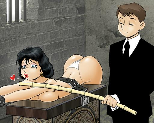 she gets a dungeon caning from her well-dressed boyfriend with a brutal bamboo cane