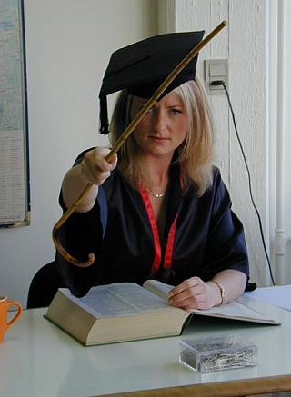 cute blonde professor with a cane