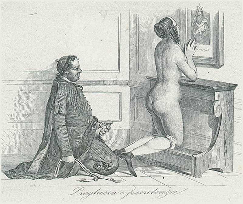 naked novitiate or nun kneels on a prayer bench and prays for forgiveness while a kinky friar or priest or monk sits beside her with a whip for her flagellation in one hand and his erect penis masturbating in his other hand