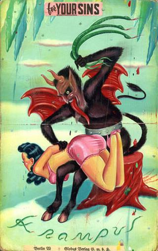 naughty girl caught and spanked by Krampus