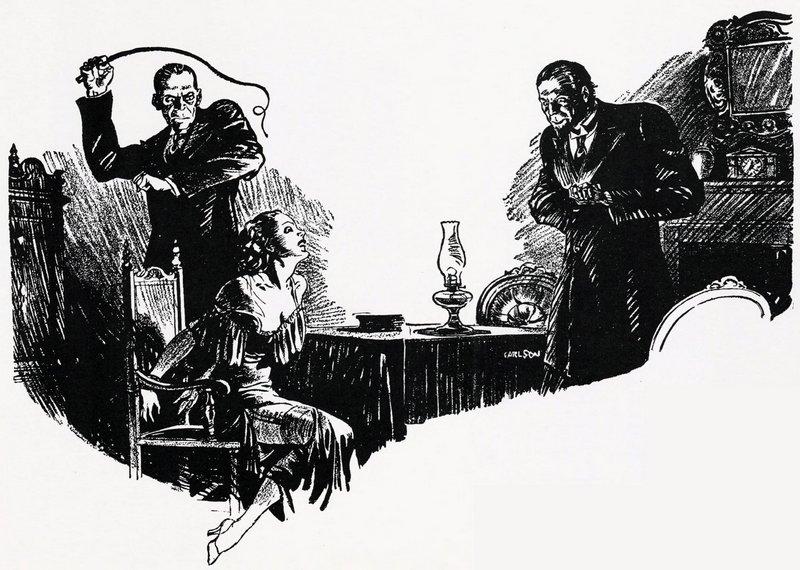evil men whipping chair tied heroine