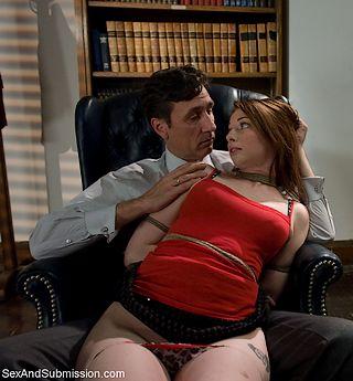 bondage paralegal on the lap of the senior partner