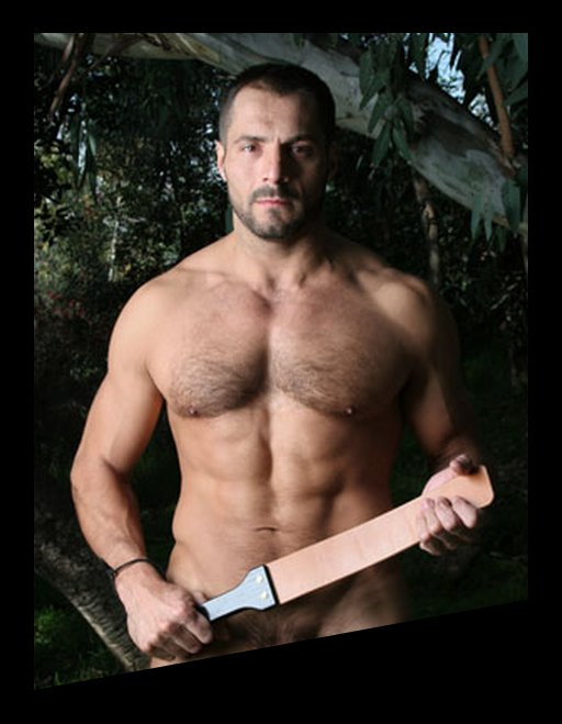 buff naked man holding a big leather spanking strap
