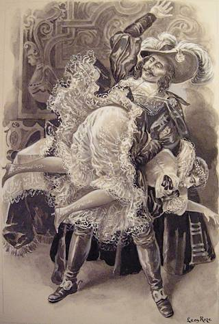 spanking art by Leon Roze