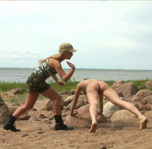spanked while exercising outdoors at lesbian army bootcamp