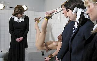 delinquent reform school girl strapped down for bathroom punishment spanking from the matron