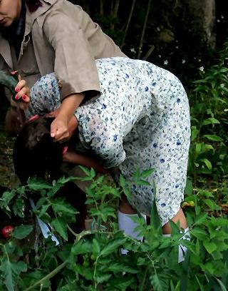 well-whipped school girl forced to pick stinging nettles for her punishment