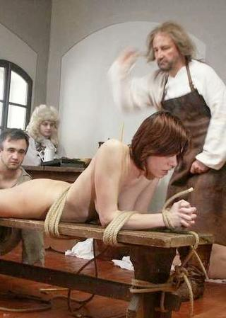 punished maid on a whipping bench