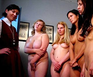four girls about to be caned