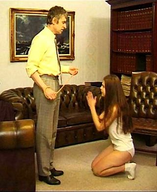 kneeling and pleading for mercy before her caning