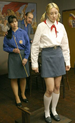 schoolgirl knows she\'s about to be punished