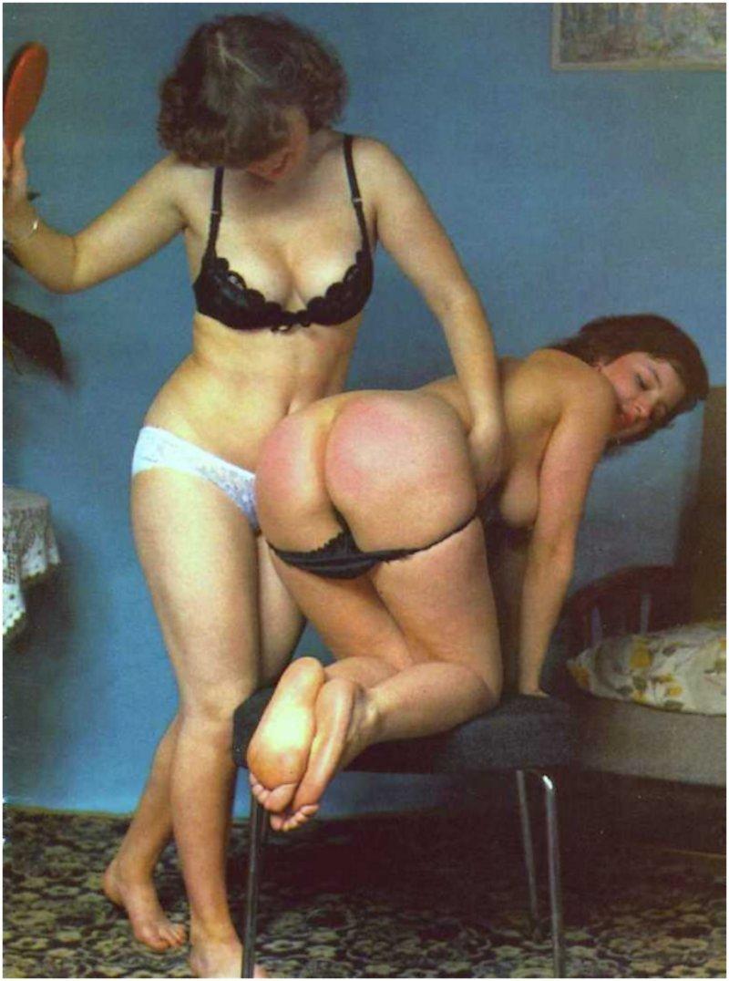 serious red-bottomed lesbian hairbrush spanking