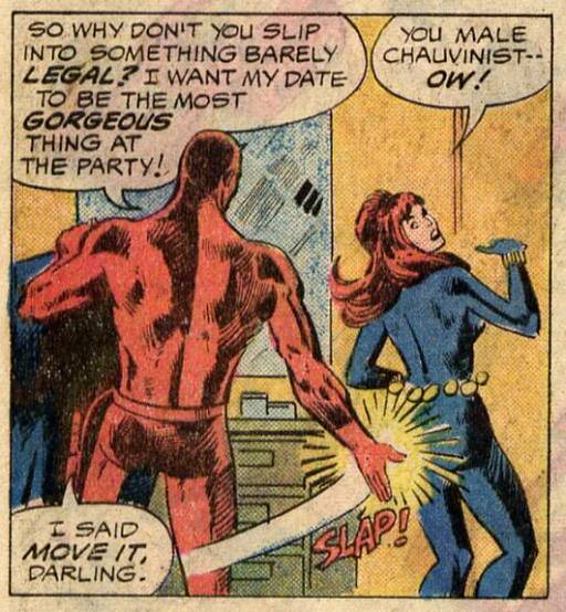 Daredevil spanking the Black Widow when she balks at dressing up for him to show her off at a party