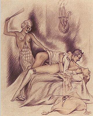 spanking orgy drawing by Eugene Reunier