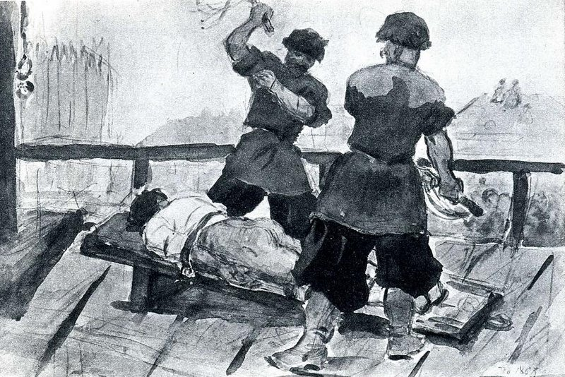 flogged by cossacks in military uniform