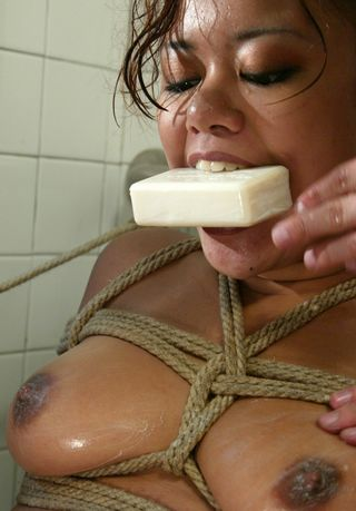 Annie Cruz bondage mouth soaping