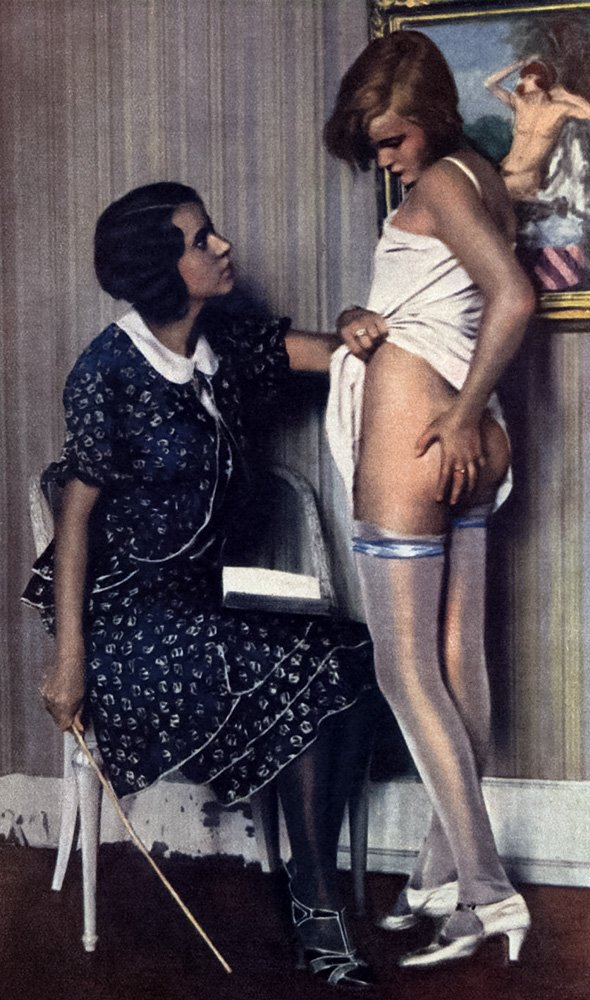 young woman being caned