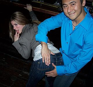 pretty fun spanking in nightclub