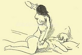 one nude girl giving a spanking to another