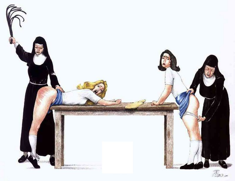 two evil nuns whipping and paddling a couple of bare-bottomed young women