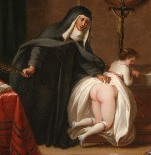 detail of a nun delivering a switching punishment