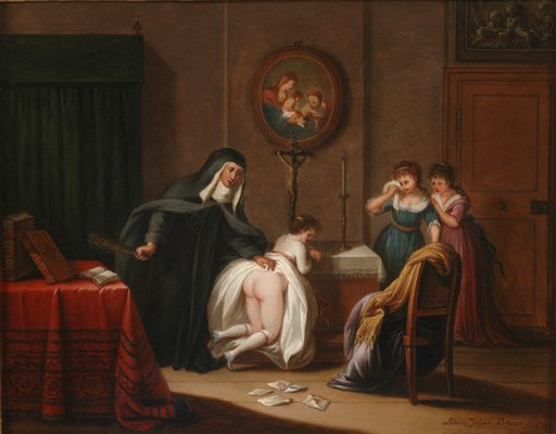 oil painting of a nun punishing three girls