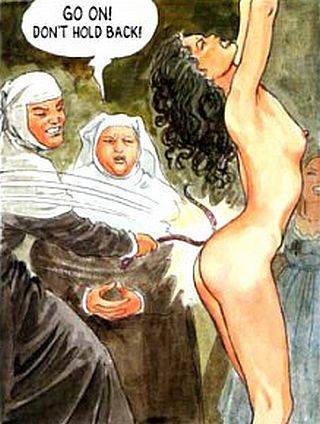 mean nuns whipping a nude girl