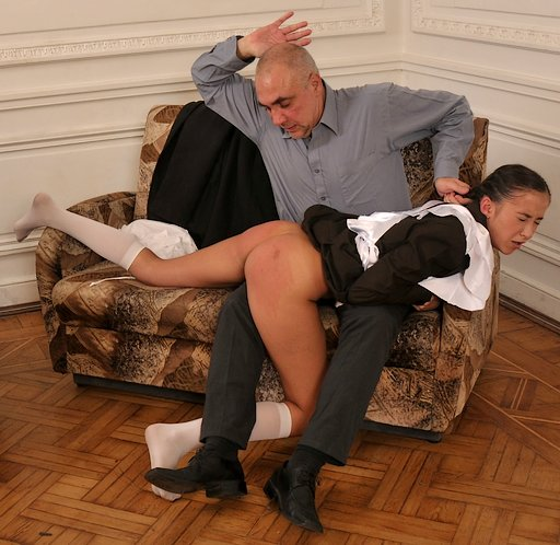 held by the hair and spanked