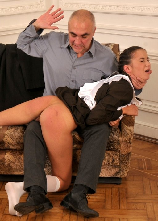 trying hard to get away during a punishment spanking