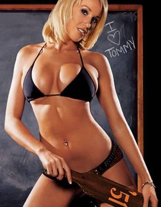 bikini babe with a frat spanking paddle