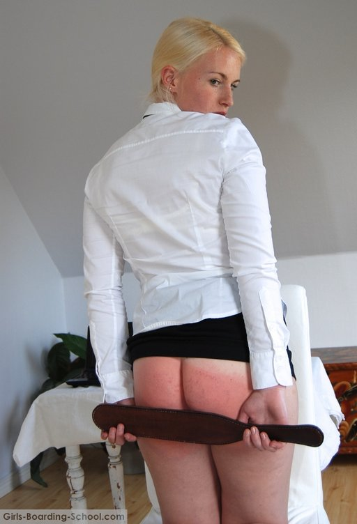 blonde schoolgirl after her paddling