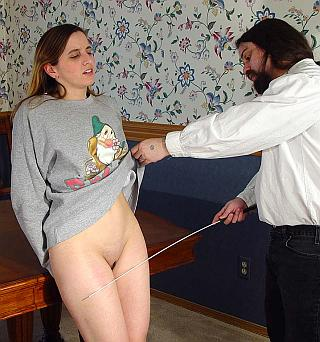 caned on the fronts of her legs