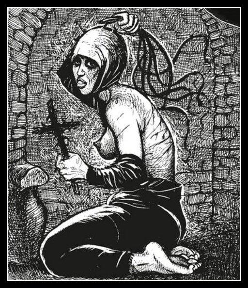 penitent woman doing painful self-flagellation