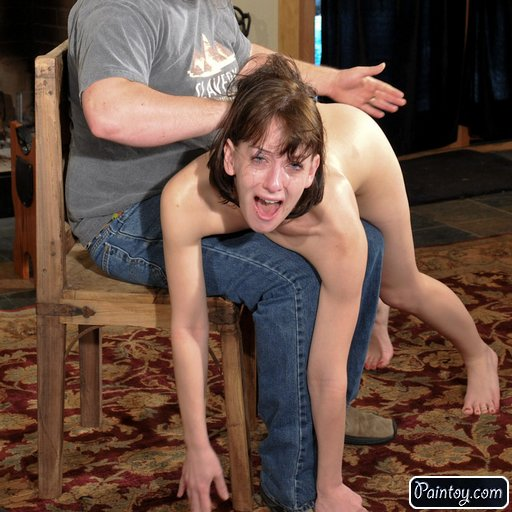 spanked to tears over his knee as a sadistic punishment