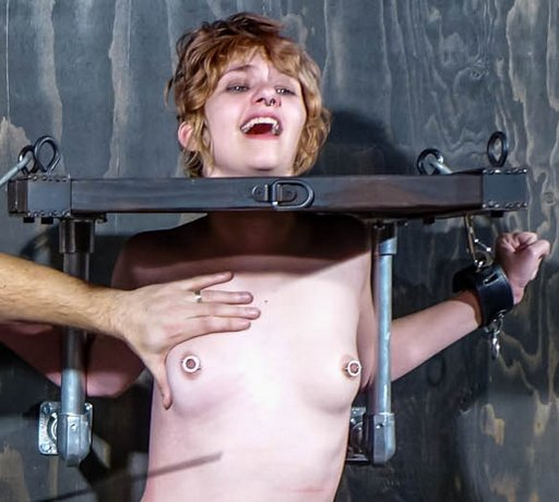 caning her tits and she likes it